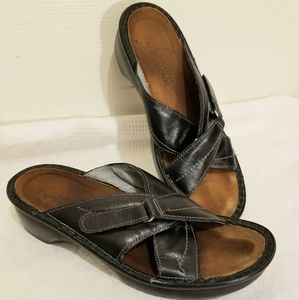 NAOT supportive black slip on Sandals, size 8